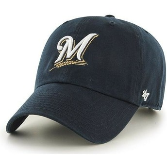 47 Brand Curved Brim Milwaukee Brewers MLB Clean Up Navy Blue Cap