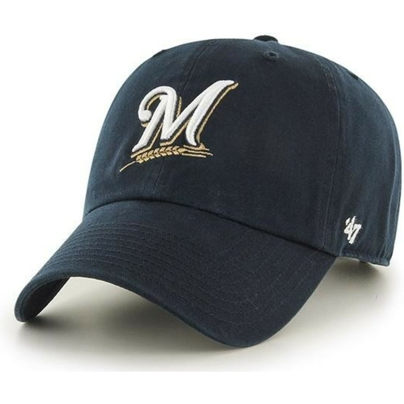 47-brand-curved-brim-milwaukee-brewers-mlb-clean-up-navy-blue-cap