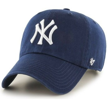 47 Brand Curved Brim New York Yankees MLB Clean Up Light Navy Blue Cap