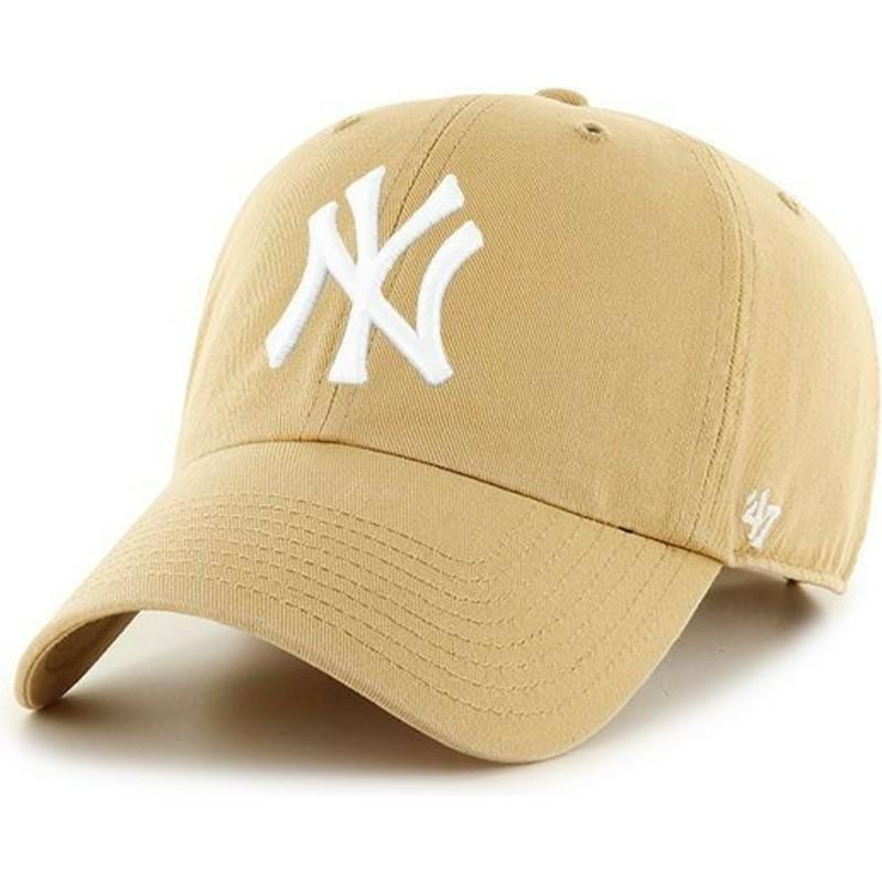 3bfc51fdc02 47 Brand Curved Brim New York Yankees MLB Clean Up Light Brown Cap ...