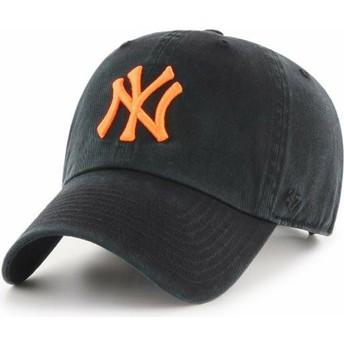 47 Brand Curved Brim Orange Logo New York Yankees MLB Clean Up Black Cap