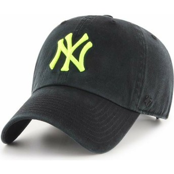 47 Brand Curved Brim Yellow Logo New York Yankees MLB Clean Up Black Cap