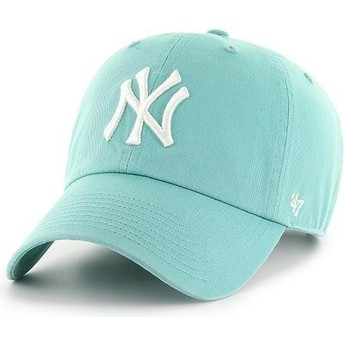 47 Brand Curved Brim New York Yankees MLB Clean Up Sky Blue Cap
