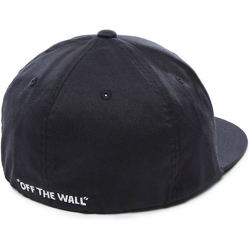 f88d82935ae Vans Flat Brim Splitz Flexfit Black Fitted Cap with Black Visor ...