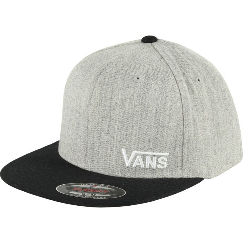 8c0f58774d7 Vans Flat Brim Splitz Flexfit Grey Fitted Cap with Black Visor  Shop ...