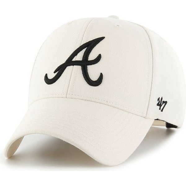 47-brand-curved-brim-atlanta-braves-mlb-mvp-snapback-cream-cap