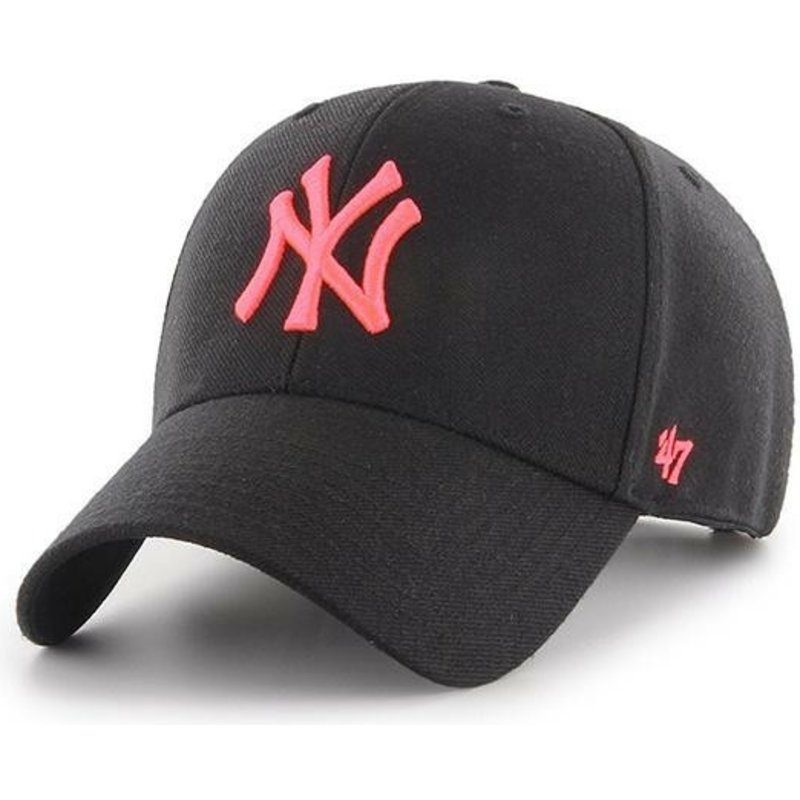 47-brand-curved-brim-pink-logo-new-york-yankees-mlb-mvp-black-snapback-cap