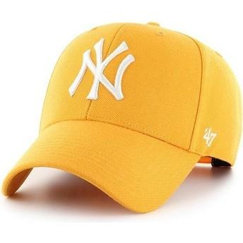 47 Brand Curved Brim New York Yankees MLB MVP Gold Yellow Snapback Cap