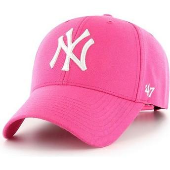 47 Brand Curved Brim New York Yankees MLB MVP Magenta Pink Snapback Cap