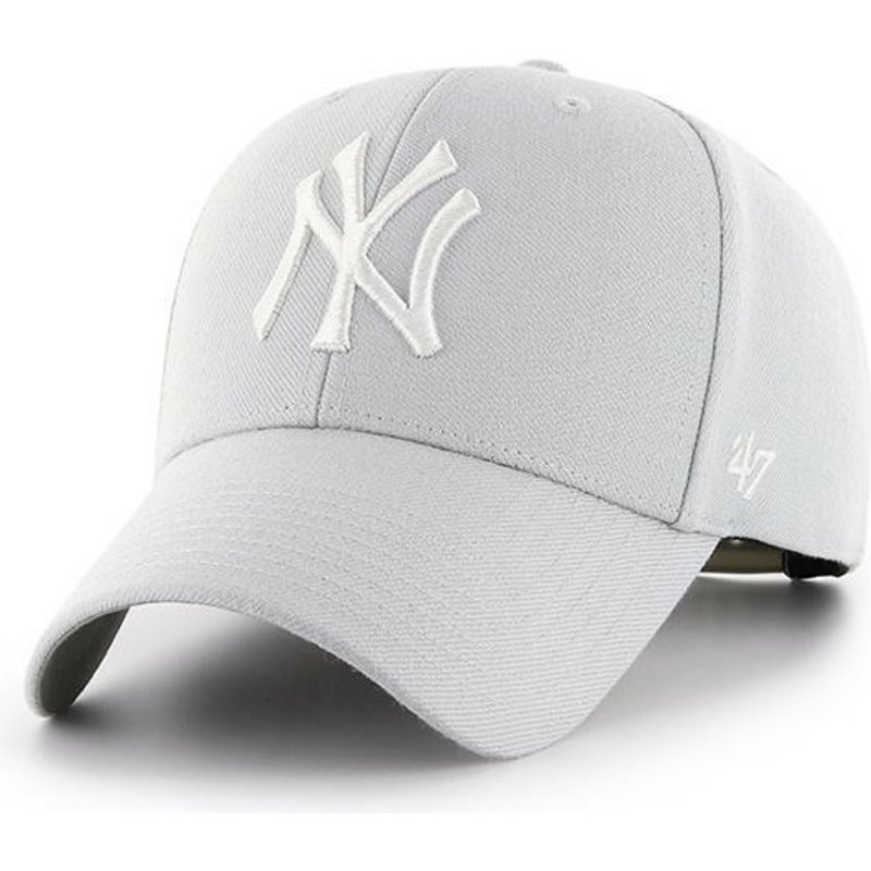 47-brand-curved-brim-new-york-yankees-mlb-mvp-silver-grey-snapback-cap