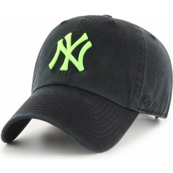 47 Brand Curved Brim Green Logo New York Yankees MLB Clean Up Black Cap
