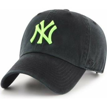 47 Brand Curved Brim Green Logo New York Yankees MLB Clean Up Black Cap