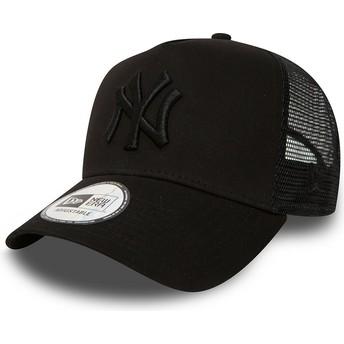 Gorra trucker negra con logo negro Clean A Frame de New York Yankees MLB de New Era