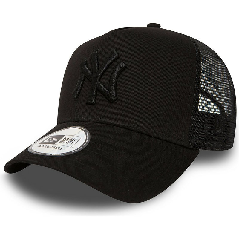 New Era Black Logo New York Yankees MLB Clean A Frame Black Trucker ... 794366c2a35