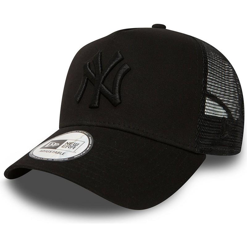 8fa7e03589b97 ... denmark new era new black logo york yankees mlb clean a frame black  trucker hat shop