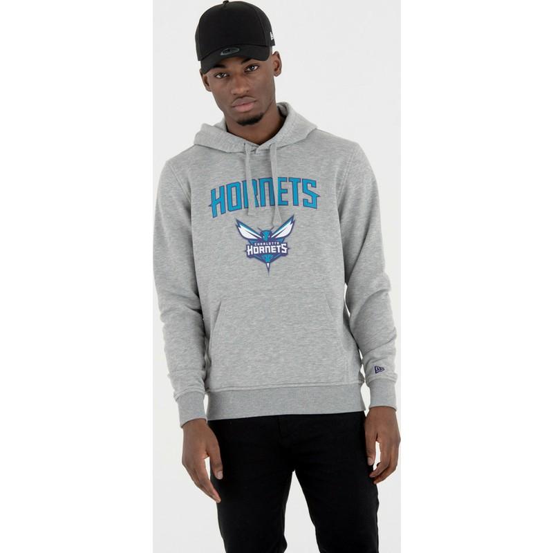 best service f21bc 9d3e7 New Era Charlotte Hornets NBA Grey Pullover Hoody Sweatshirt