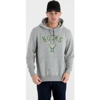 Sudadera con capucha gris Pullover Hoody de Milwaukee Bucks NBA de New Era