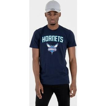 Camiseta de manga corta azul marino de Charlotte Hornets NBA de New Era