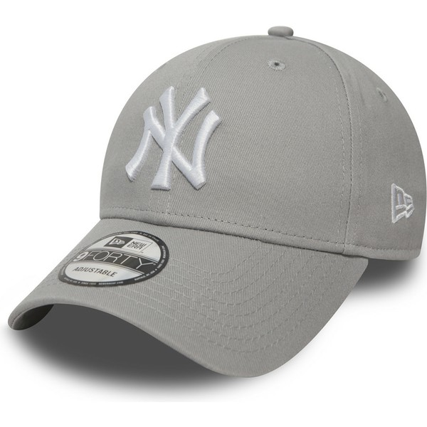 new-era-curved-brim-9forty-essential-new-york-yankees-mlb-grey-adjustable-cap