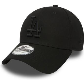 Gorra curva negra con logo negro ajustada 39THIRTY Essential de Los Angeles Dodgers MLB de New Era