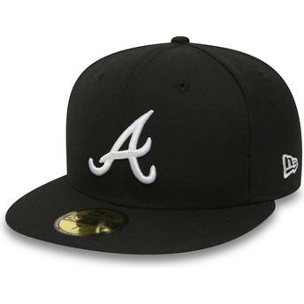 Gorra plana negra ajustada 59FIFTY Essential de Atlanta Braves MLB de New Era