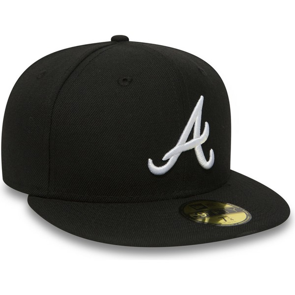 new-era-flat-brim-59fifty-essential-atlanta-braves-mlb-black-fitted-cap