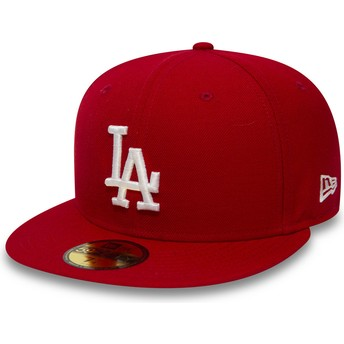 Gorra plana roja ajustada 59FIFTY Essential de Los Angeles Dodgers MLB de New Era