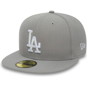 New Era Flat Brim 59FIFTY Essential Los Angeles Dodgers MLB Grey Fitted Cap