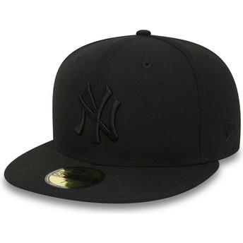 Gorra plana negra ajustada 59FIFTY Black on Black de New York Yankees MLB de New Era