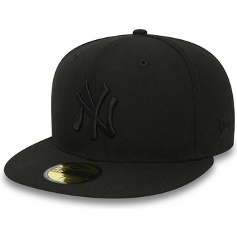 New Era Flat Brim 59FIFTY Black on Black New York Yankees MLB Black Fitted Cap
