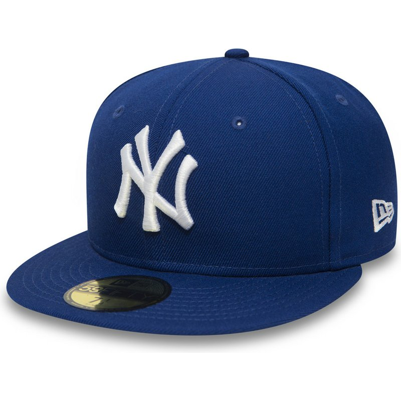 cd3fe7f8ed95ca New Era Flat Brim 59FIFTY Essential New York Yankees MLB Blue Fitted ...
