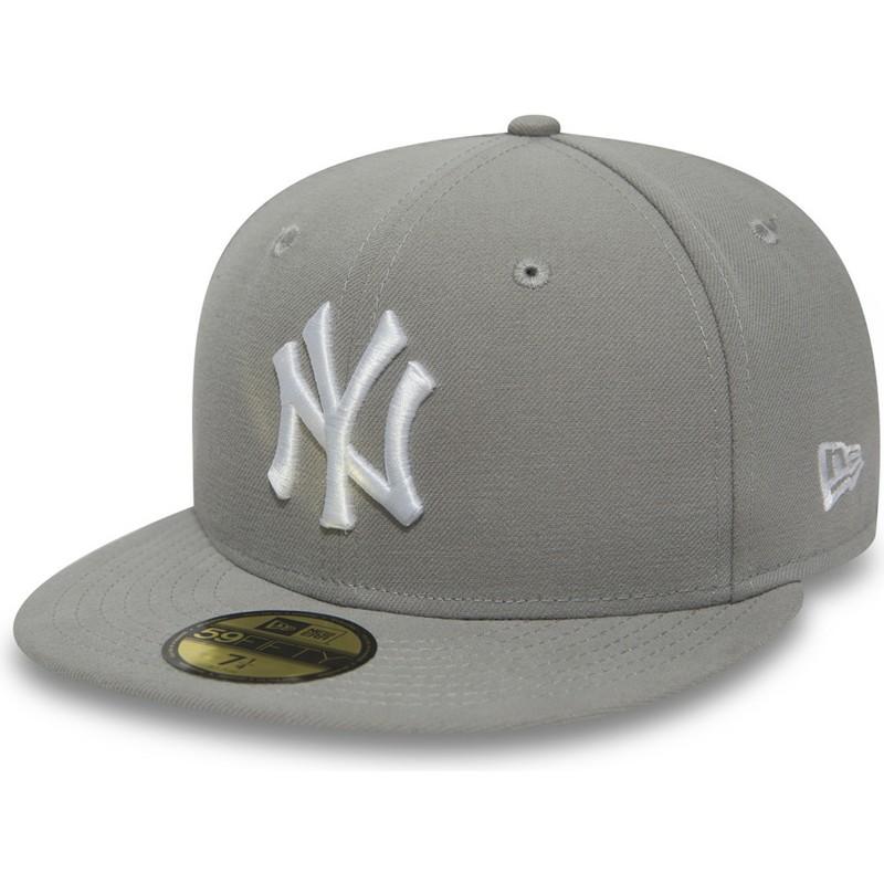 New Era Flat Brim 59FIFTY Essential New York Yankees MLB Grey Fitted ... db251ae590f