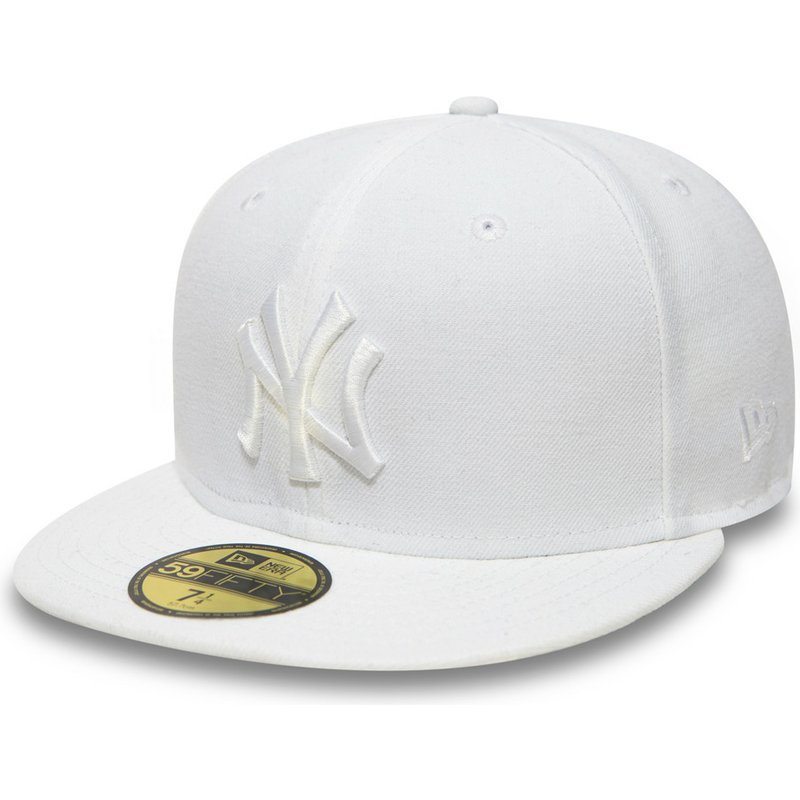 New Era Flat Brim 59FIFTY White on White New York Yankees MLB White ... 74541fdf0eb