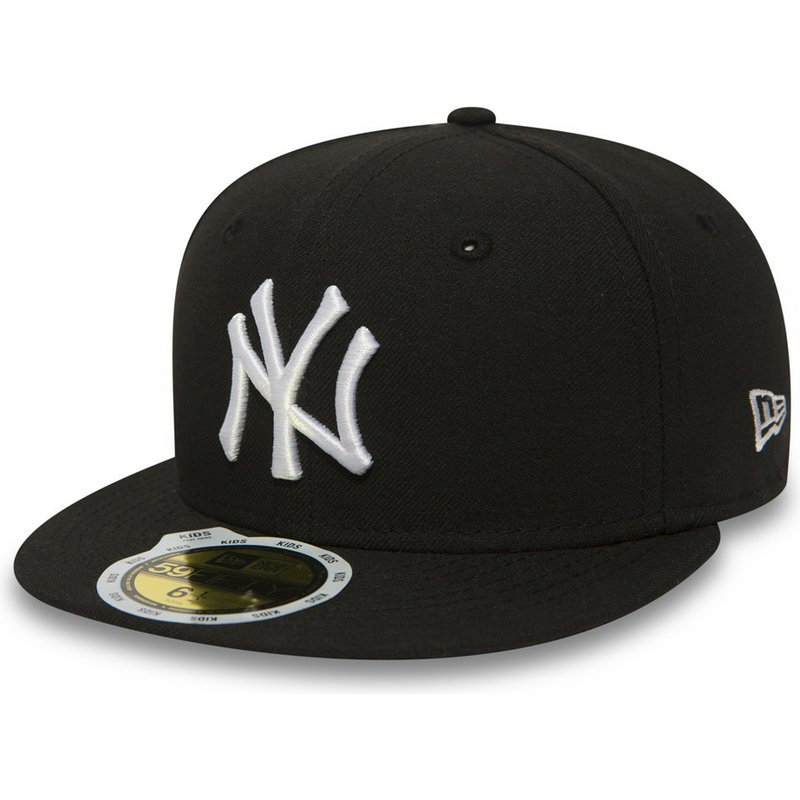 91f11fbc48a11 New Era Flat Brim Youth 59FIFTY Essential New York Yankees MLB Black ...