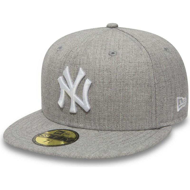 New Era Flat Brim 59FIFTY Essential New York Yankees MLB Grey Fitted Cap 98882eaaf4c