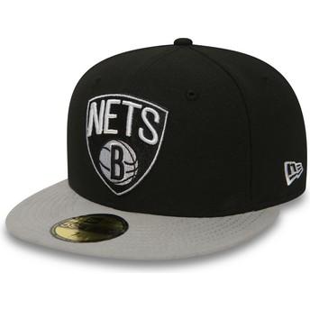 Gorra plana negra ajustada 59FIFTY Essential de Brooklyn Nets NBA de New Era