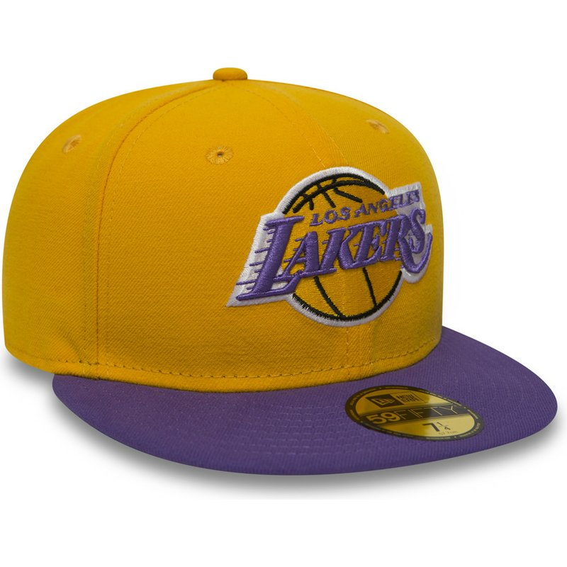 6f6db876fe8 New Era Flat Brim 59FIFTY Essential Los Angeles Lakers NBA Yellow ...