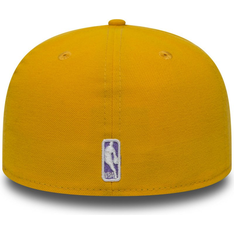 New Era Flat Brim 59FIFTY Essential Los Angeles Lakers NBA Yellow Fitted Cap   Shop Online at Caphunters 0f64f1ed040