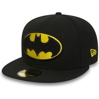 Gorra plana negra ajustada 59FIFTY Batman Character Essential Warner Bros. de New Era
