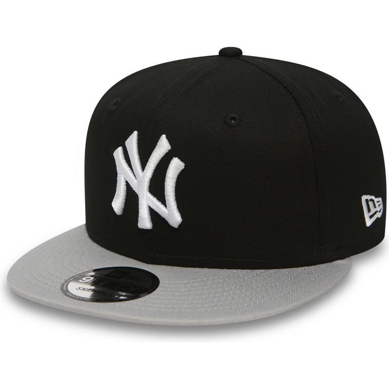 New Era Flat Brim 9FIFTY Cotton Block New York Yankees MLB Black ... 7040eb3eac7