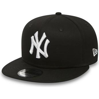 Gorra plana negra ajustable 9FIFTY White on Black de New York Yankees MLB de New Era