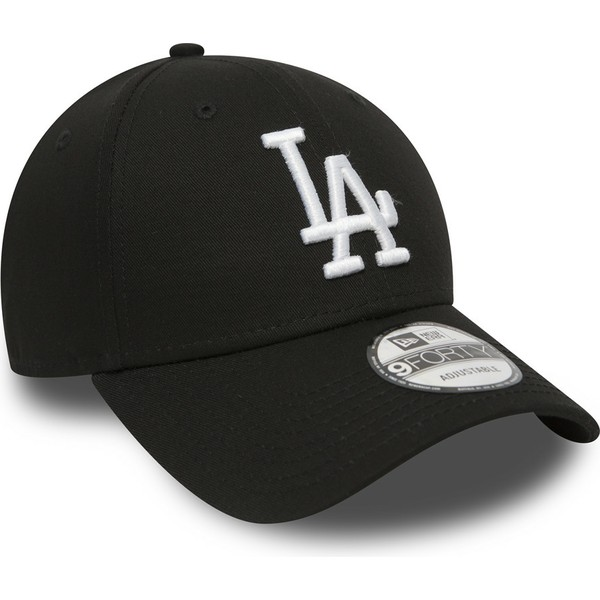 new-era-curved-brim-9forty-essential-los-angeles-dodgers-mlb-black-adjustable-cap