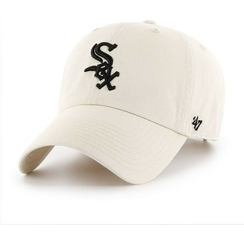 47 Brand Curved Brim Chicago White Sox MLB Clean Up Cream Cap