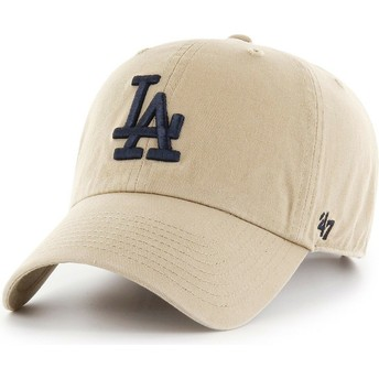47 Brand Curved Brim Black Logo Los Angeles Dodgers MLB Clean Up Khaki Cap