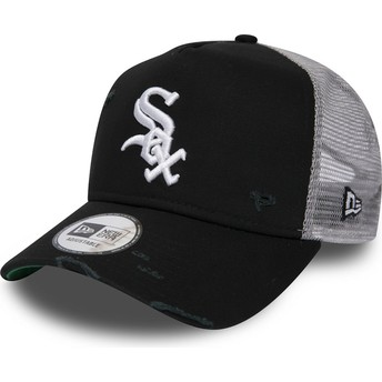 New Era Distressed A Frame Chicago White Sox MLB Black Trucker Hat