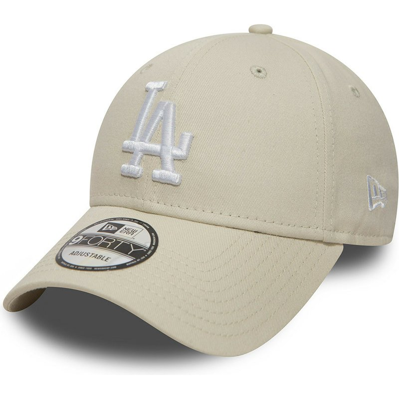 new-era-curved-brim-9forty-essential-los-angeles-dodgers-mlb-off-white-adjustable-cap