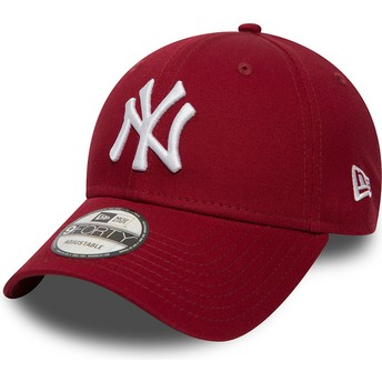 buy online 6cda4 764a3 ... low price new era curved brim 9forty essential new york yankees mlb  cardinal red adjustable cap