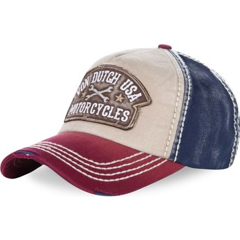 Von Dutch Curved Brim DYLAN02 White, Blue and Red Adjustable Cap