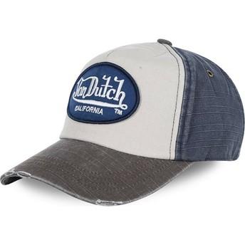 Gorra curva blanca, azul y gris ajustable JACKMWB de Von Dutch