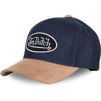 Von Dutch Curved Brim SHANE Navy Blue and Brown Adjustable Cap